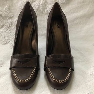4/$20 Brown Heeled Penny Loafers